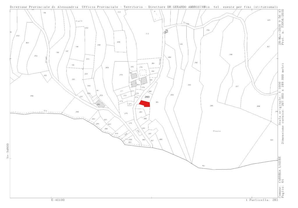 Planimetria FRAZIONE BERGA foglio 64 mappale 283